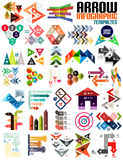 Set of geometric shape arrow info templates Stock Image