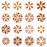 Set of geometric shapes. Abstract symmetric geometric center shapes. Beige and brown colors. Vector symbols for your design Stock Photo