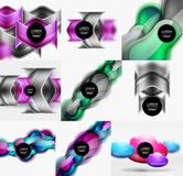 Set of geometric shapes backgrounds, abstract minimal banners. Vector illustration Royalty Free Stock Images