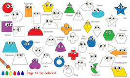 Set of geometric shapes cartoon. Page to be colored. Royalty Free Stock Photo