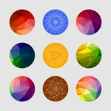 Set of geometric shapes. Geometric background. Set of colored geometric crystal circles in polygon style royalty free illustration