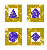 Set of  geometric shapes in grunge style Royalty Free Stock Photos