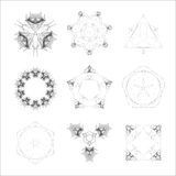 Set of geometric shapes, lowpoly shapes, triangles Royalty Free Stock Images