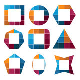 Set of geometric shapes made up of squares of different colors Royalty Free Stock Photography