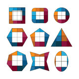 Set of geometric shapes made up of squares of different colors Royalty Free Stock Photo