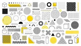 Set of 100 geometric shapes. Memphis design, retro elements for web, vintage, advertisement, commercial banner, poster, leaflet,