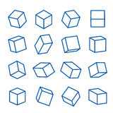 Set of geometric shapes, platonic solids, vector Icon Line illustration Royalty Free Stock Photos