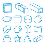 Set of geometric shapes, platonic solids, vector Icon Line illustration Royalty Free Stock Image
