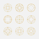 Set of geometric shapes, squares and circles, line design,  Royalty Free Stock Photos