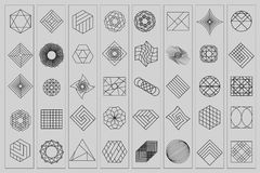 Set of geometric shapes. Trendy hipster background and logotypes. Religion, philosophy, spirituality, occultism symbols Royalty Free Stock Photography