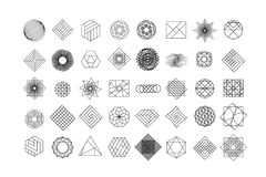 Set of geometric shapes. Trendy hipster background and logotypes. Religion, philosophy, spirituality, occultism symbols Stock Photo