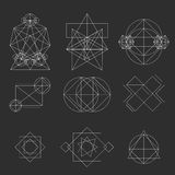 Set geometric signs, labels, and frames. Triangles. Line design elements,  illustration Royalty Free Stock Image