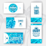 Set of geometric summer visiting card Stock Images