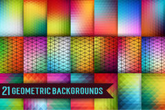 Set of geometric templates. Triangles pattern of geometric shapes. Colorful mosaic backdrop. Geometric hipster retro background, B Royalty Free Stock Photo