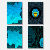 Set with geometric triangle abstract gorilla portrait and polygonal background Royalty Free Stock Photos