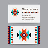 Set of geometric tribal colorful business cards - ethnic style templates Royalty Free Stock Image