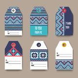 Set of geometric tribal colorful tags with Aztec pixel pattern, label templates, design elements, modern  , gift card - Royalty Free Stock Photos