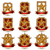 Set of geometric vector glamorous golden elements isolated on wh Royalty Free Stock Photo