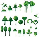 Set of geometric vector trees Stock Images