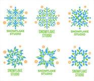 Set of geometrical abstract snowflake vector logo templates Royalty Free Stock Photos