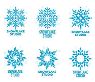 Set of geometrical abstract snowflake vector logo templates Royalty Free Stock Photography