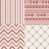Set of geometrical brush drawn vector seamless patterns Stock Image