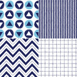 Set of geometrical brush drawn vector seamless patterns. Collection of geometrical vector seamless patterns in sea colors - stripes, circles and triangles Stock Photography