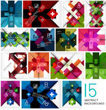 Set of geometrical cross shape backgrounds Royalty Free Stock Photography