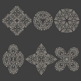 Set of geometrical emblems. Made of line art crystals stock illustration