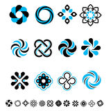 Set of 12 geometrical floral icons. Royalty Free Stock Image