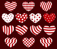Set of geometrical hearts. Royalty Free Stock Photography