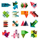 Set of  geometrical infographic templates. Set of  arrow, triangle and line geometrical infographic templates, business presentation paper design elements with Stock Photos