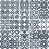 Set of 25 geometrical seamless patterns. Vector. Set of 25 monochrome geometrical patterns. White, dark blue grille texture in Arabic, Oriental style. A Stock Images