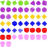 Set of geometrical solids. Set of 50 polyhedral solids Stock Images