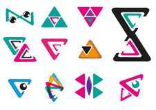 Set of Geometrical or Triangle Logo with different style. Editable Clip art. Stock Image