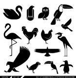 Set of geometrically stylized bird icons. Set of various bird icons: swan owl eagle rooster flamingo penguin pelican hen. Vector illustration royalty free illustration