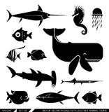 Set of geometrically stylized sea animal icons Royalty Free Stock Photo