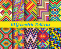 Set of 10 geometricpatterns. Set of 10 geometric patterns. Color seamless  backgrounds Royalty Free Stock Image