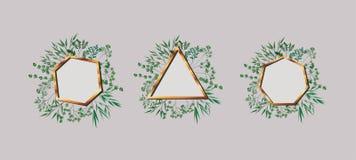 Set of geometrics golden frames and leafs stock illustration