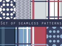 Set geometrische nahtlose Muster Lizenzfreie Abbildung