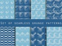 Set geometrische nahtlose Muster Das Muster der Linien Sammlung Vektorillustrationen Stockbilder