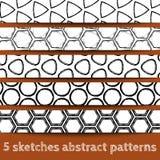 Set geometrische nahtlose Muster der Skizzen Lizenzfreies Stockfoto