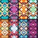 Set geometrische nahtlose Muster Ethnische und Stammes- Motive VE vektor abbildung