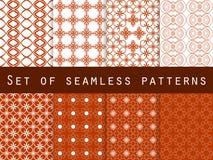 Set geometrische nahtlose Muster ROT UND WEISS Lizenzfreie Abbildung