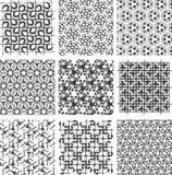 Set geometrische Schwarzweiss-Muster Stockfoto