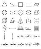 Set of geometry icons. Science, basic education. Flat style. Vector illustration Royalty Free Stock Image