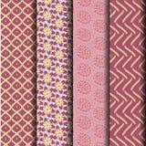 Set geometry pink Seamless pattern Stock Photo
