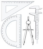 Set of geometry tools Royalty Free Stock Images