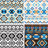 Set of geometry tribal seamless patterns Stock Photography