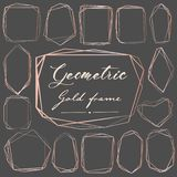 Set geometryczna różowa złoto rama, Dekoracyjny element dla ślubnej karty, zaproszenia i logo, ilustracji